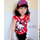เสื้อยืดแขนสั้น-Hello-Kitty-สีแดง-(5size/pack)