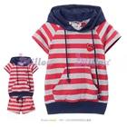 เสื้อและกางเกงลายขวางหัวใจเล็ก-สีแดง-(5size/pack)