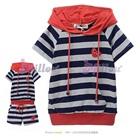 เสื้อและกางเกงลายขวางหัวใจเล็ก-สีกรม-(5size/pack)