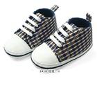 รองเท้าผ้าใบเด็กลายสก็อต-สีน้ำเงิน-(4-คู่/แพ็ค)
