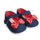 รองเท้ายีนส์เด็กโบว์แดง-สีน้ำเงิน-(6-คู่/แพ็ค)